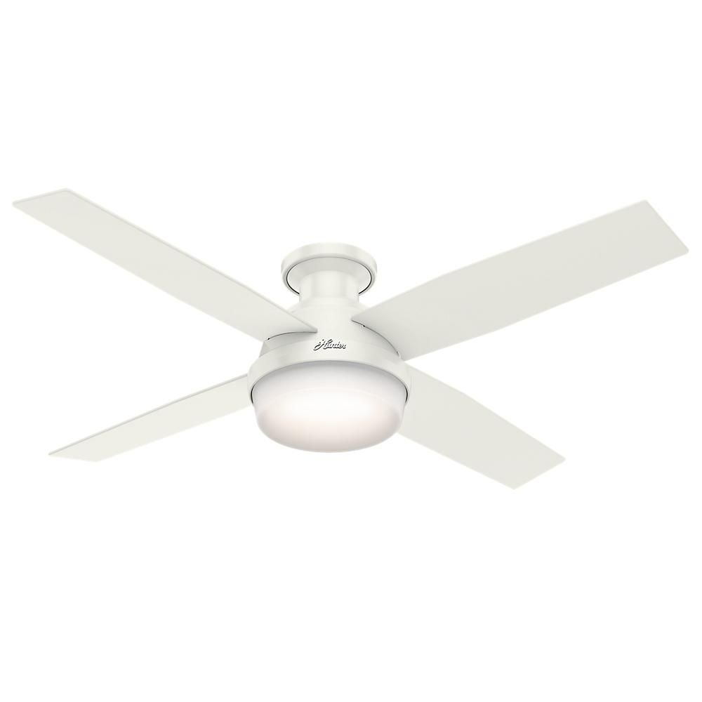 Hunter dempsey 52 in low profile led indoor fresh white ceiling fan low profile led indoor fresh white ceiling fan with universal remote aloadofball Gallery