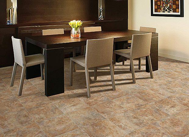 Earth Tone Vinyl Floor That Looks Like Tile For Dining Room