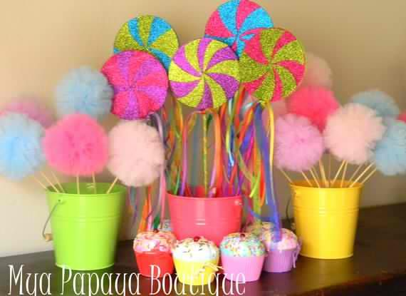 Party Candyland Decorations Diy Found On Etsy But Could Easily Diy These Decorations Candyland Decorations Candyland Lollipop Candyland Birthday