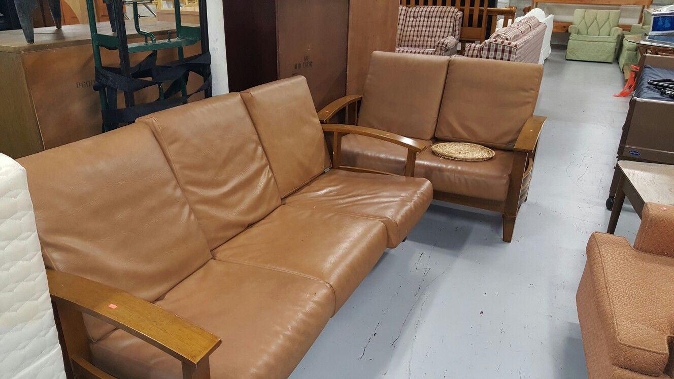 Vintage Wooden And Vinyl Couch And Chair Set $149 | Thrifty