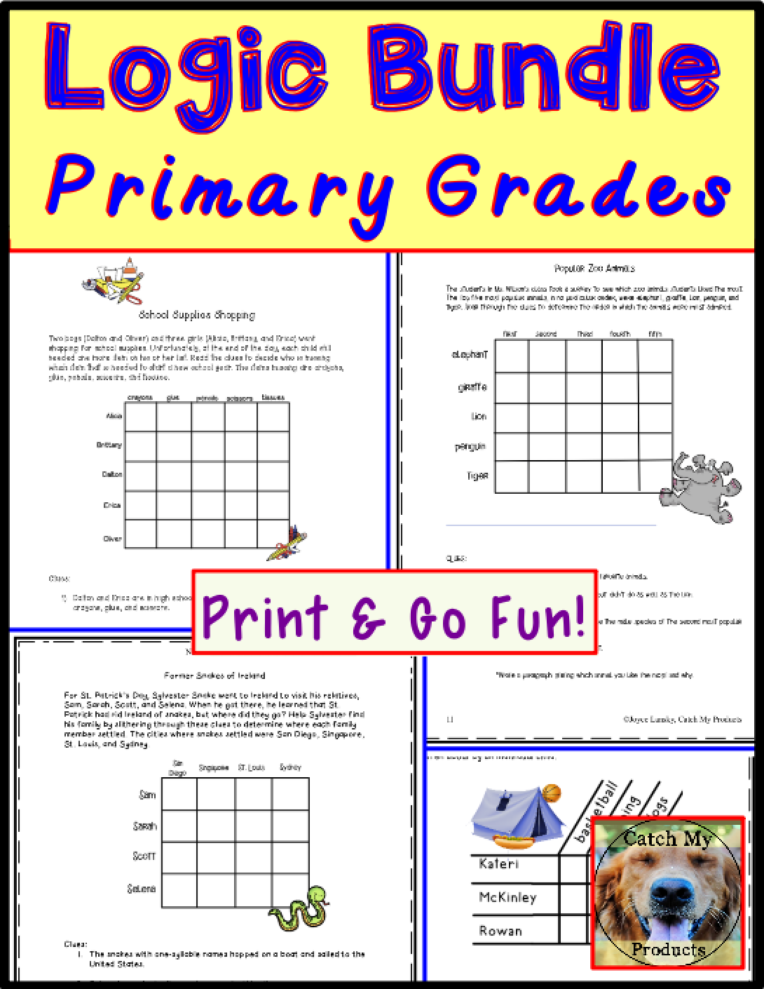 Logic Bundle Primary Grades   Kids critical thinking [ 1410 x 1090 Pixel ]