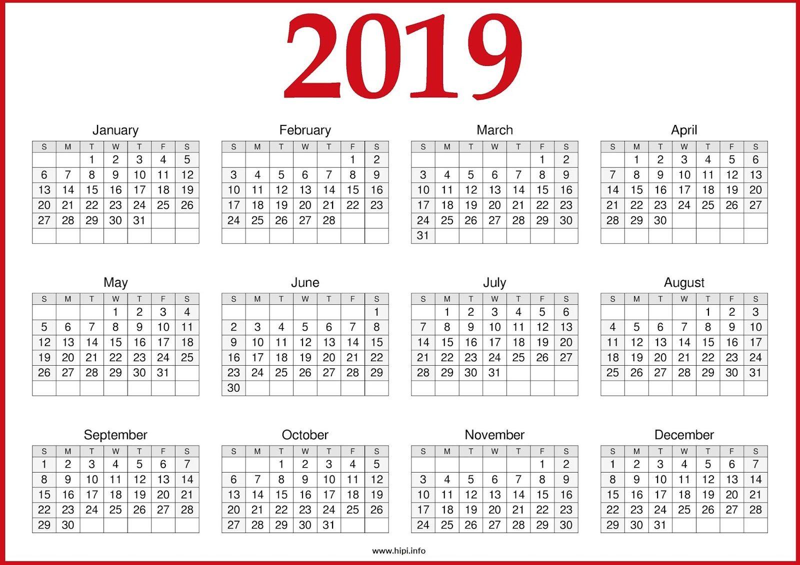 2019 Calendar Template Pdf Word Excel Free Download Calendar