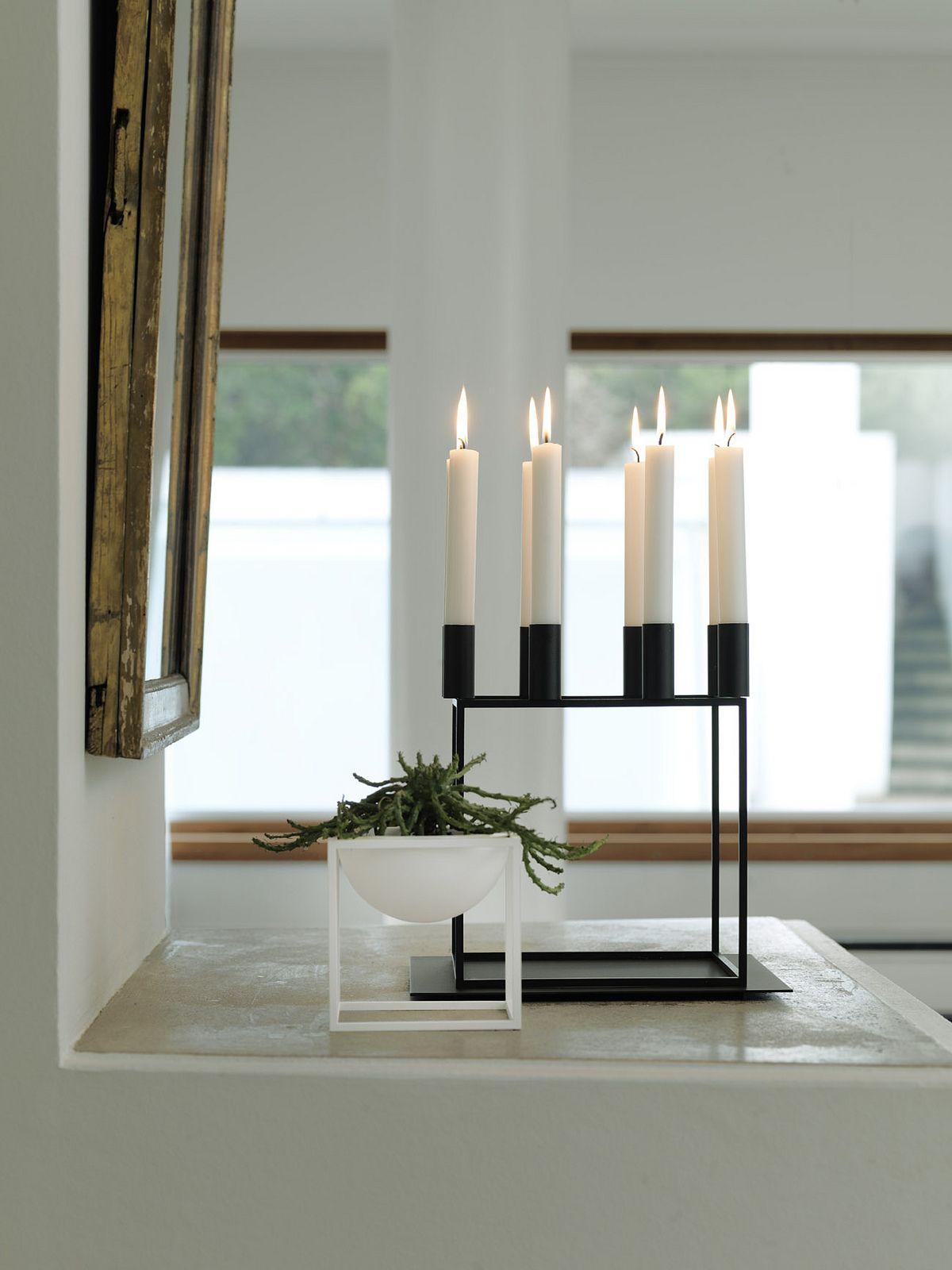 Kubus White Steel Metal Scandinavian And Danish Bowl Kubus Black Candleholder By Lassen Available O Black Candle Holders Scandinavian Home Home Accessories
