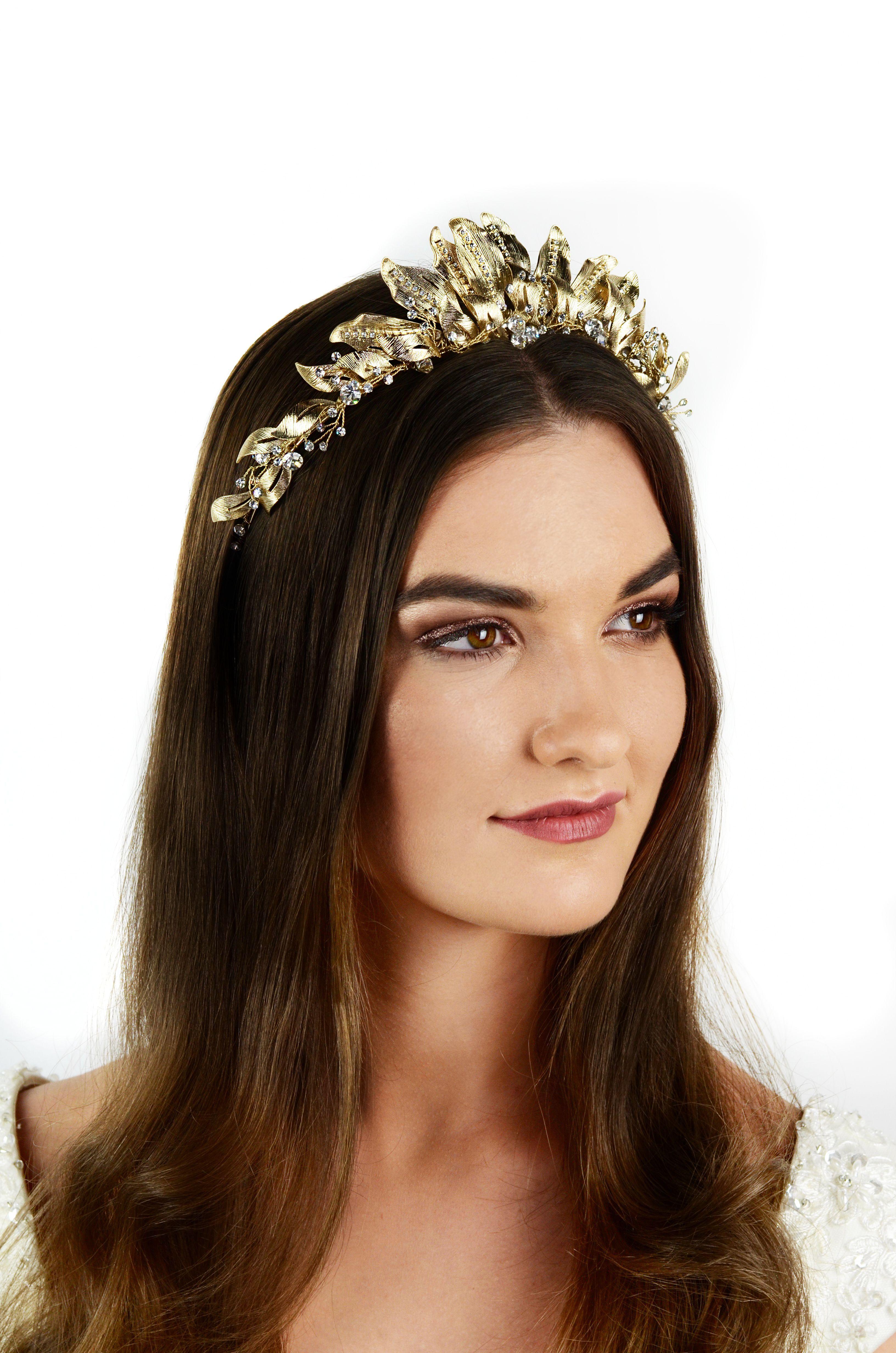Our Aisha Bridal Crown in Pale Gold