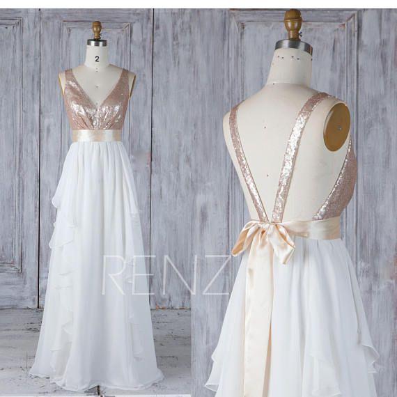 Bridesmaid Dress Tan Sequin Off White Chiffon Wedding Dress with ...