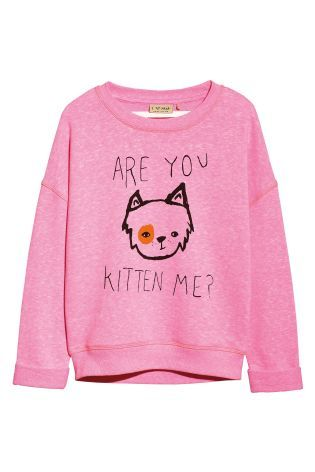 Buy Pink Cat Slogan Sweat Top (3-16yrs) online today at Next: United States of America