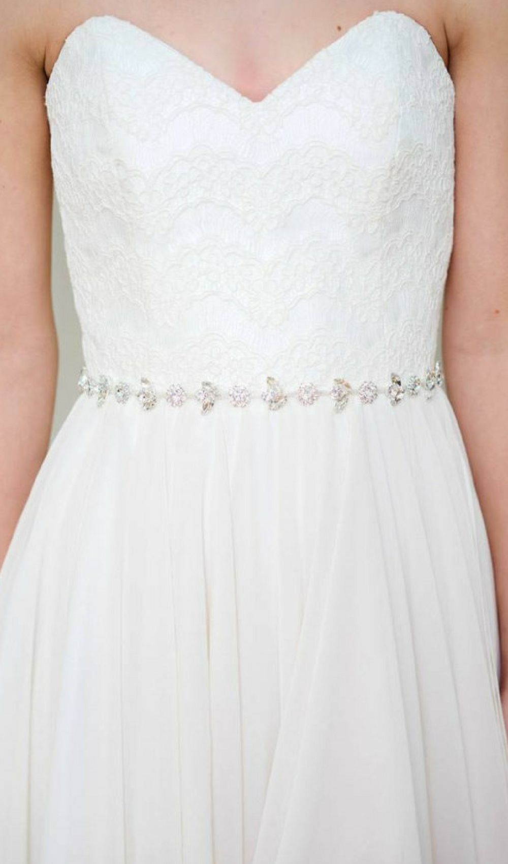 Wedding dresses with lots of rhinestones  Dahlia Belt A thin silver bridal sash punctuated with crystal