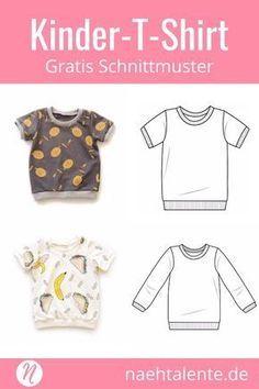 T-Shirt für Kinder - Freebook für Kurz- und Langarmshirts #håndarbejde