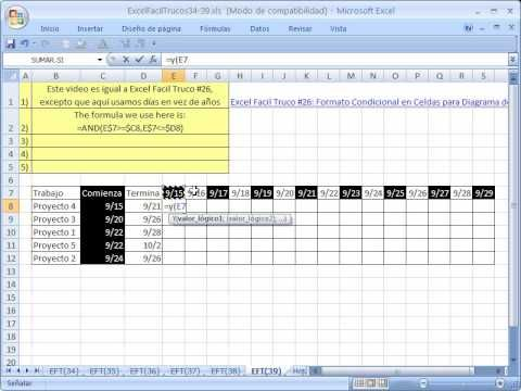 Excel Facil Truco #39: Diagrama de Gantt para calendario con dias ...