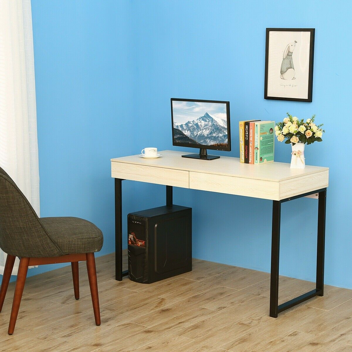 Simple Writing Desk Study Computer Desk With 2 Drawers Computer Desks For Home Simple Writing Desk Home Office Furniture Desk