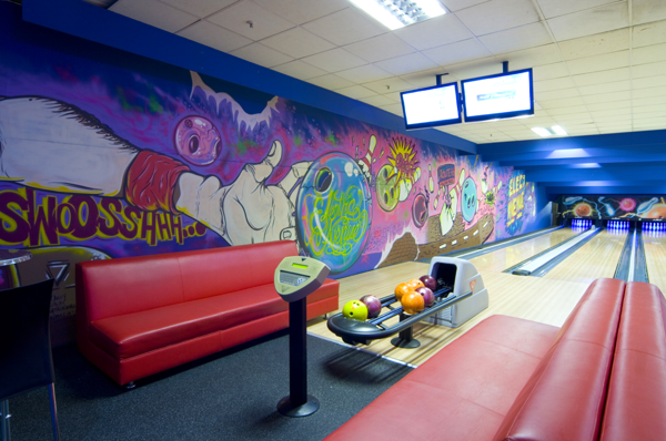 Electric Avenue Bowling Alley Mural On Pantone Canvas Gallery Mural Graffiti Murals Bowling