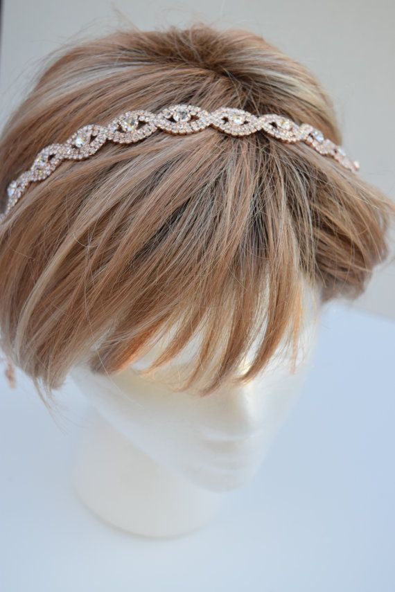 Stunning rose gold headband for your bridal hair piece or bridesmaids!  Paired with 36 of ribbon in color of your choice. Ties in bow at the 7131e8690e6