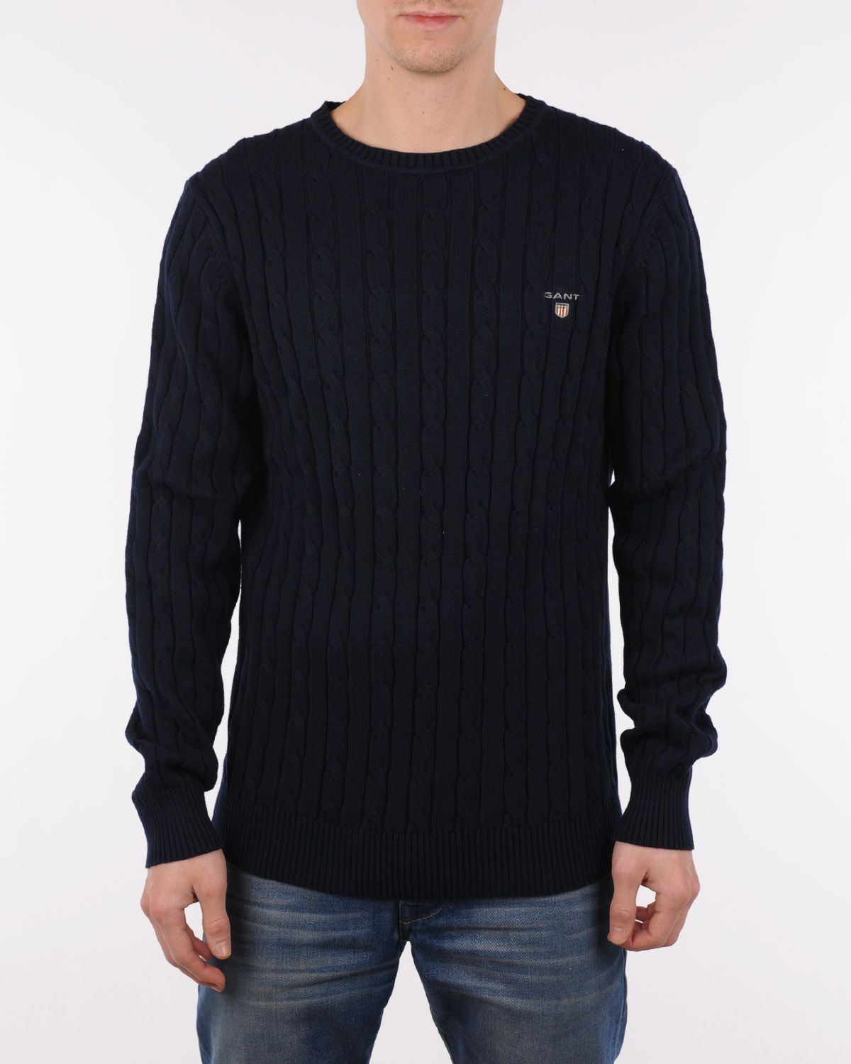 Gant Cotton cable crew evening blue, 1 249 kr | Kläder