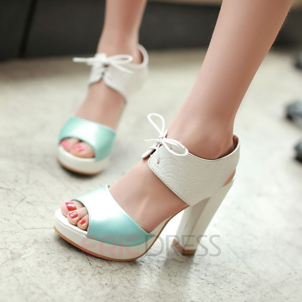 be1c1a33cc Ericdress Patchwork Peep Toe Chunky Sandals Chunky Sandals | Daily ...