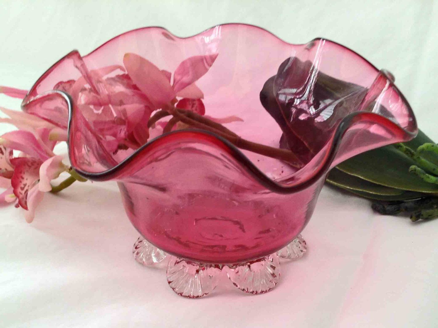Hand blown cranberry bowl pontil mark footed fluted hand blown cranberry bowl pontil mark footed fluted transparent cranberry glass mint condition hand blown glass art reviewsmspy