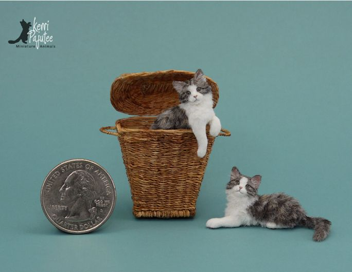 Dollhouse Miniature Kitten-cat sculptures of polymer clay, wire ...