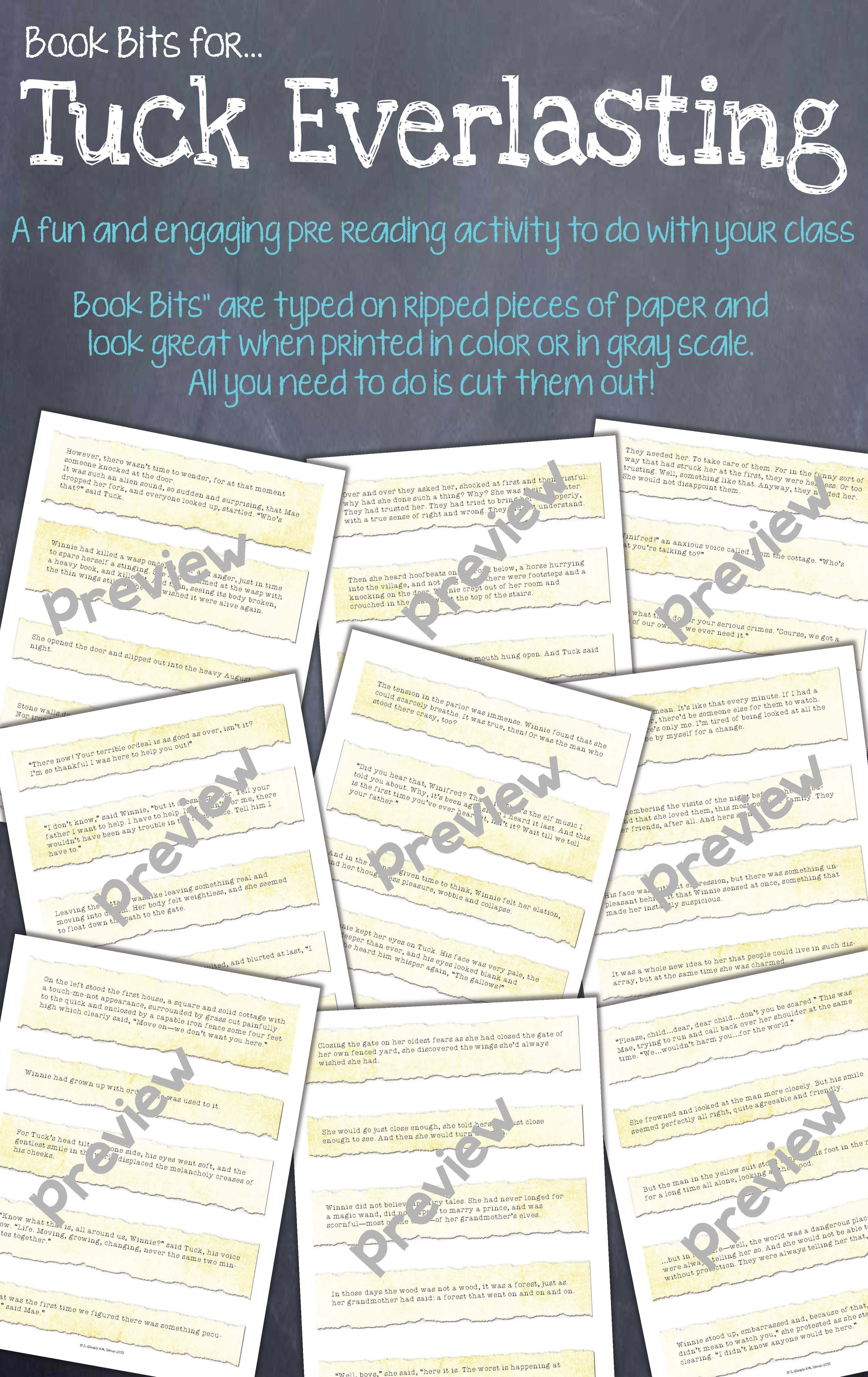 Book Bits A Fun Pre Reading Activity For Tuck Everlasting Pre Reading Activities Elementary Reading Comprehension Tuck Everlasting