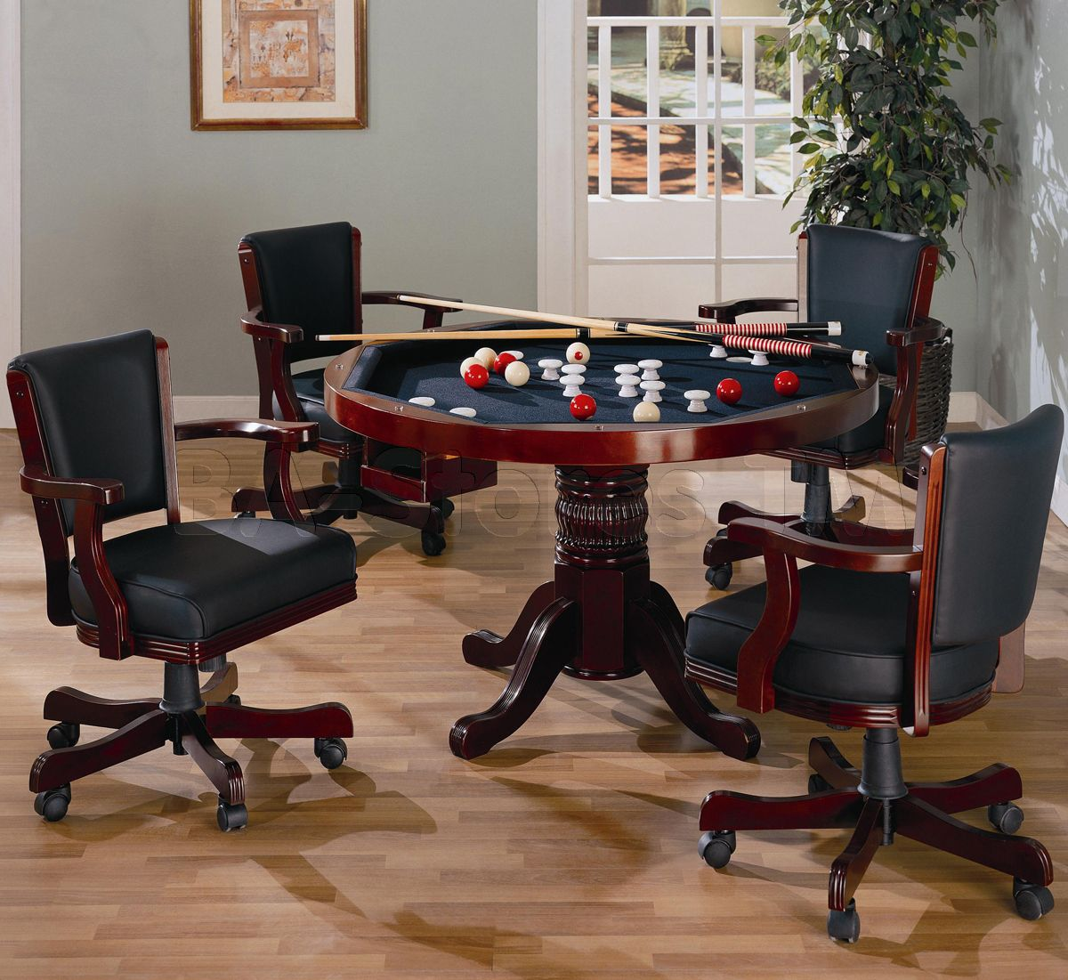 Mitchell 5 Pcs Set In Cherry Game Table And 4 Chairs Coaster Co Game Room Tables Bumper Pool Table Bumper Pool