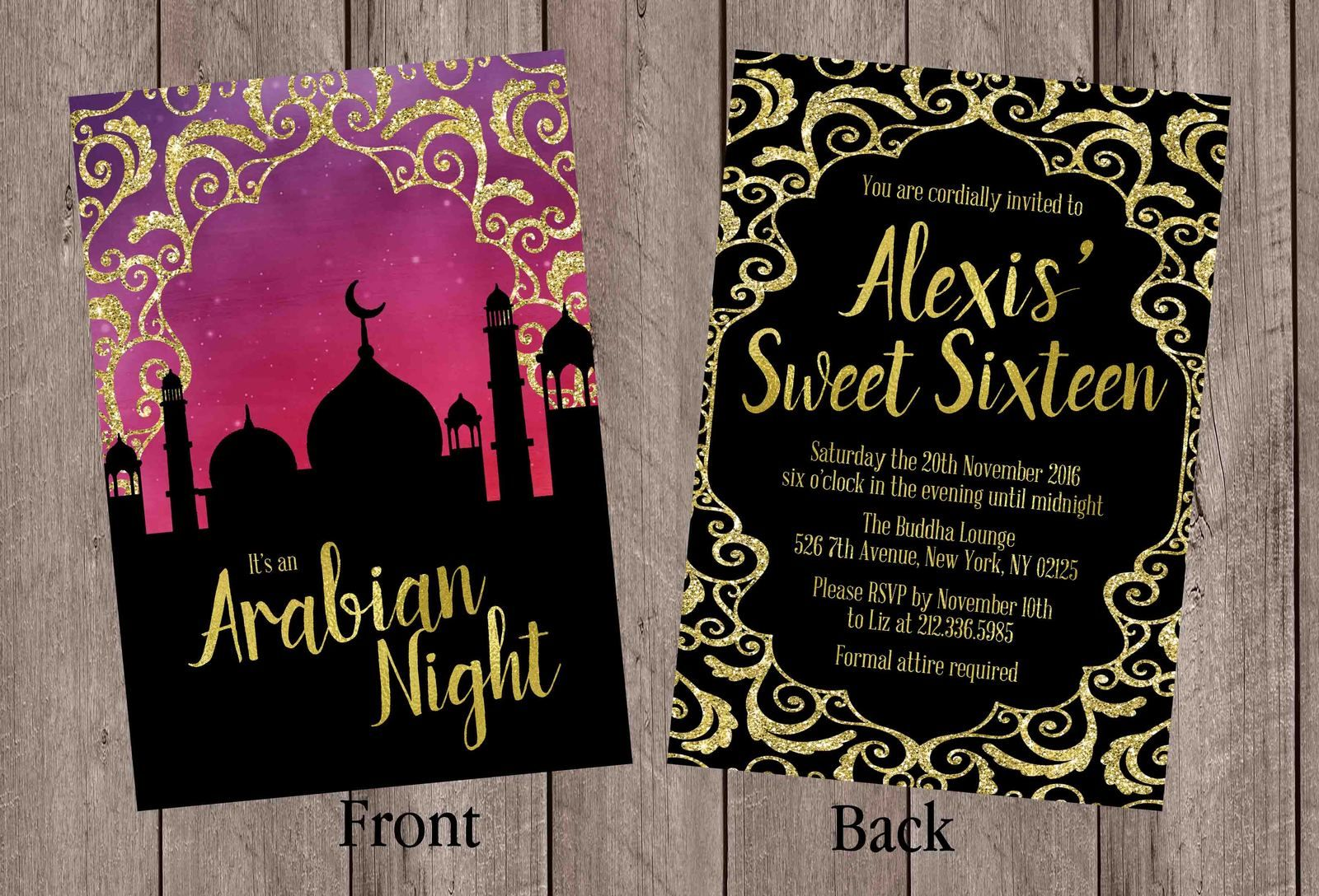 Arabian Nights Invitation Birthday Sweet Sixteen Bridal Shower