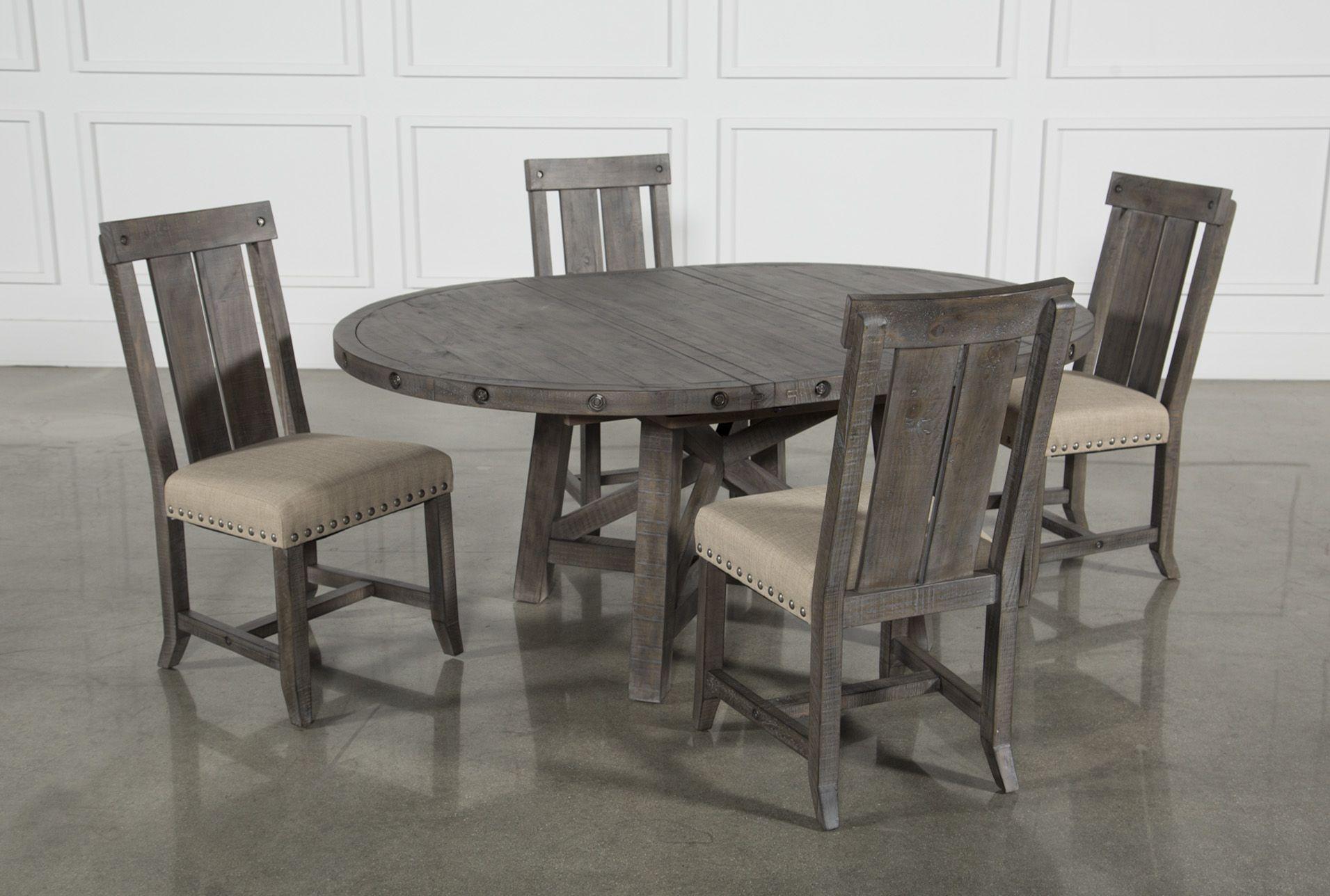f9eabd0a34 Jaxon Grey 5 Piece Round Extension Dining Set W/Wood Chairs ...
