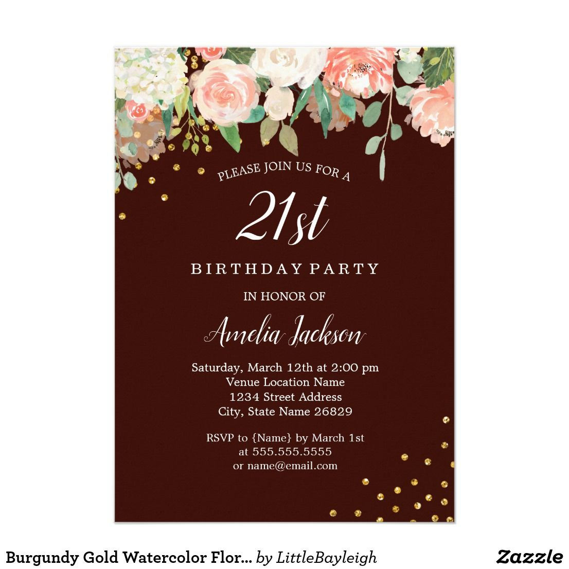 Burgundy Gold Watercolor Floral 21st Birthday Invitation 21st