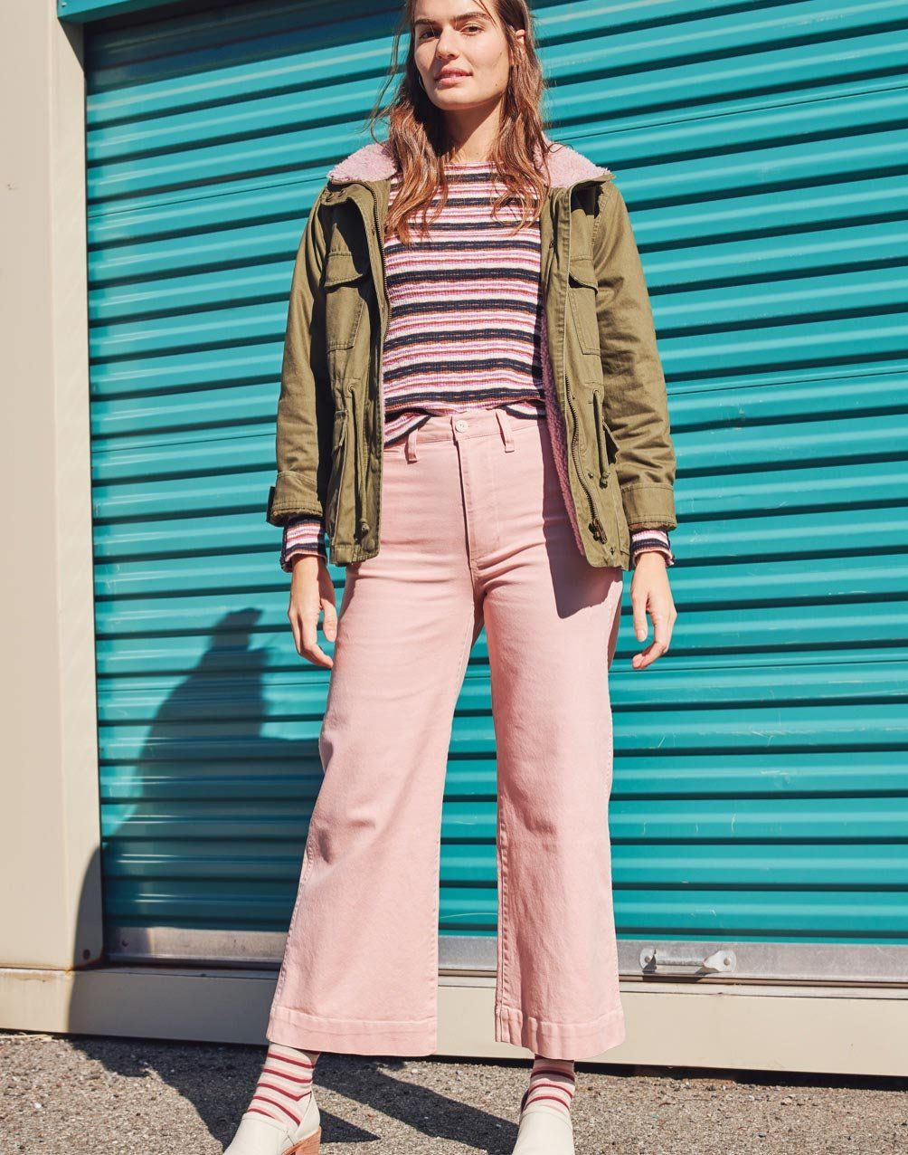 10d38b0ee4ac madewell emmett wide-leg crop pants worn with sherpa trimmed surplus jacket  + button-sleeve tee.