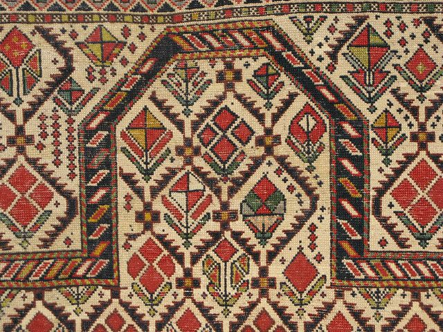 """A tribal rug from the Caucauses - cover an ottoman, or as """"tablecloth"""""""