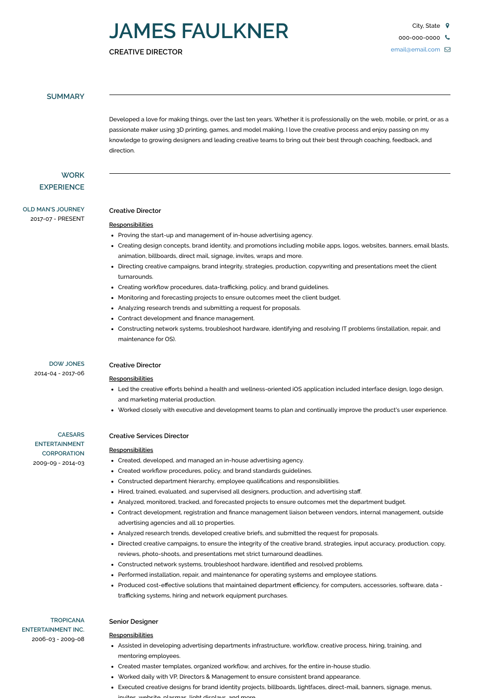 Creative Director Resume Samples And Templates Visualcv Creative Director Resume Chronological Resume