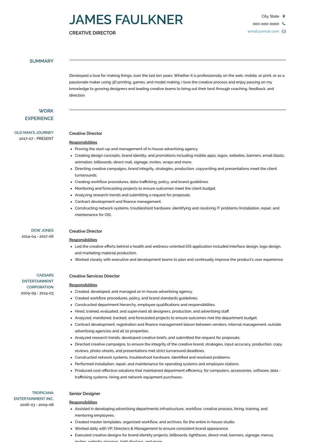 Creative Director Resume Samples And Templates Visualcv Creative Director Cv Creative Director Current Job