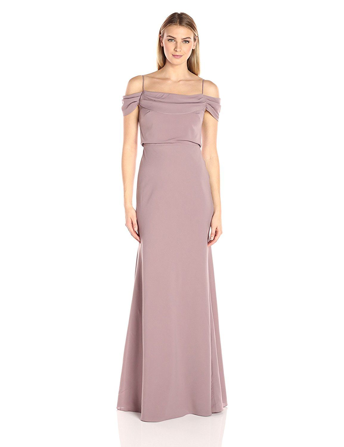 4f9707af9dd Jenny Yoo Women s Sabine Draped Off The Shoulder Crepe Gown at Amazon  Women s Clothing store