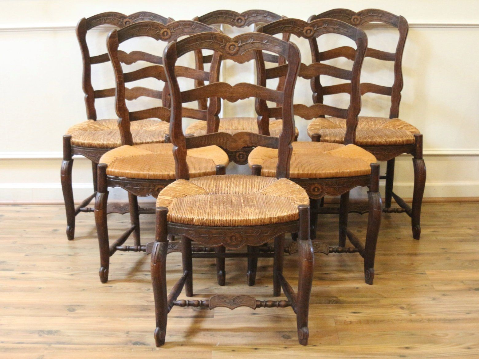 Antique French Country Carved Oak Dining Chairs With Straw