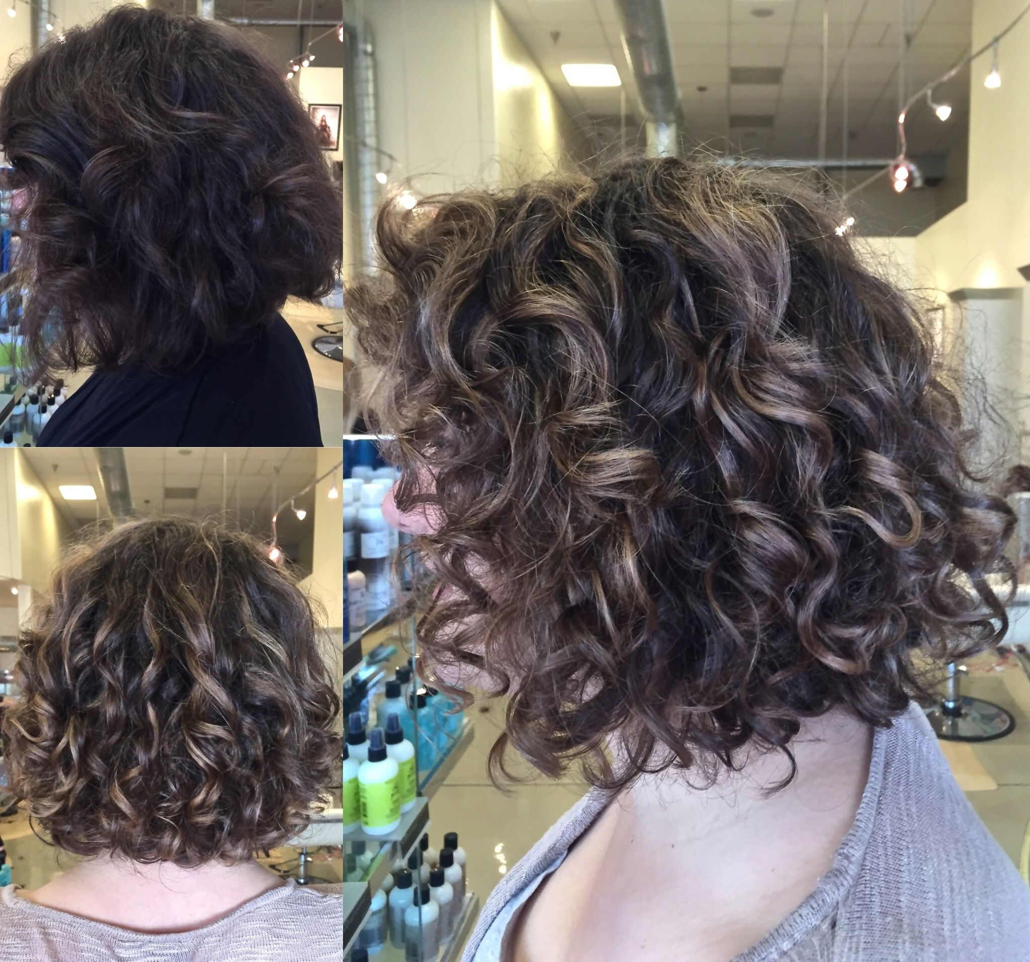 Curly hair balayage highlight on lob short bob Natural curls with