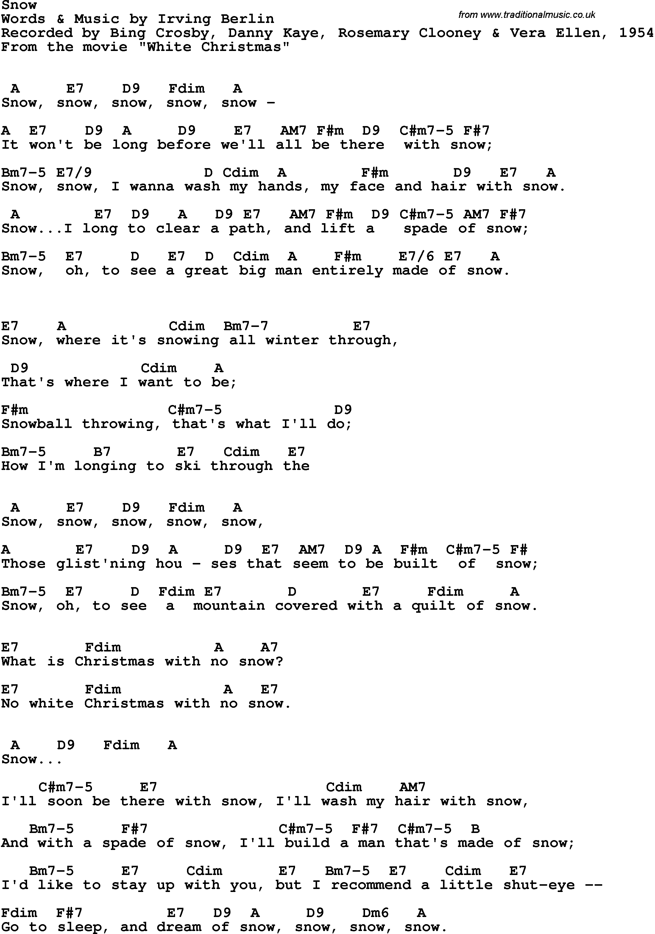 song lyrics with guitar chords for snow bing crosby danny kaye rosemary clooney