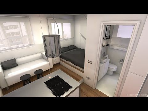 Tiny apartment 16m2 (pure black and white) Small spaces - küchen regale ikea