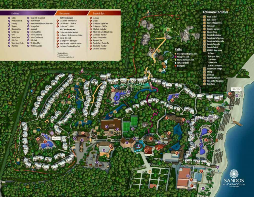 Sandos Caracol Map Of Resort Grounds 2021 Timeshare Promotions Resort Plan Mexico Vacation Mexico Resorts