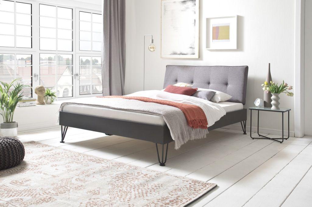 Bett 160 X 200 Cm Boston 3 Hellgrau Graphit Mega Mobel In 2020 Haus Deko Polsterkopfteil Bett