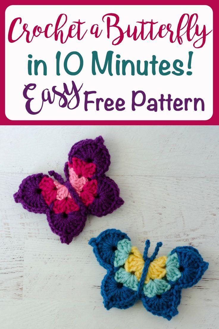 Crochet Butterfly Pattern | Häkeltiere, Vogel und Häckeln