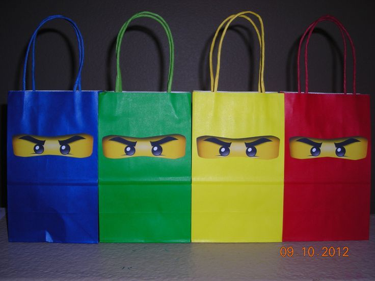 10 Lego Ninjago Party Goody Goodie Bags Treats Favor Tags Building ...