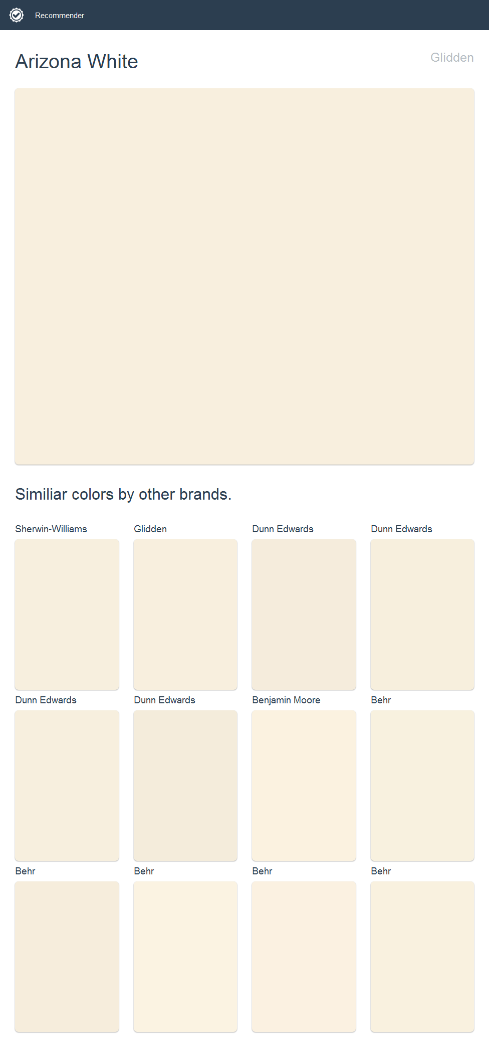 Arizona White Glidden Click The Image To See Similiar Colors By Other Brands