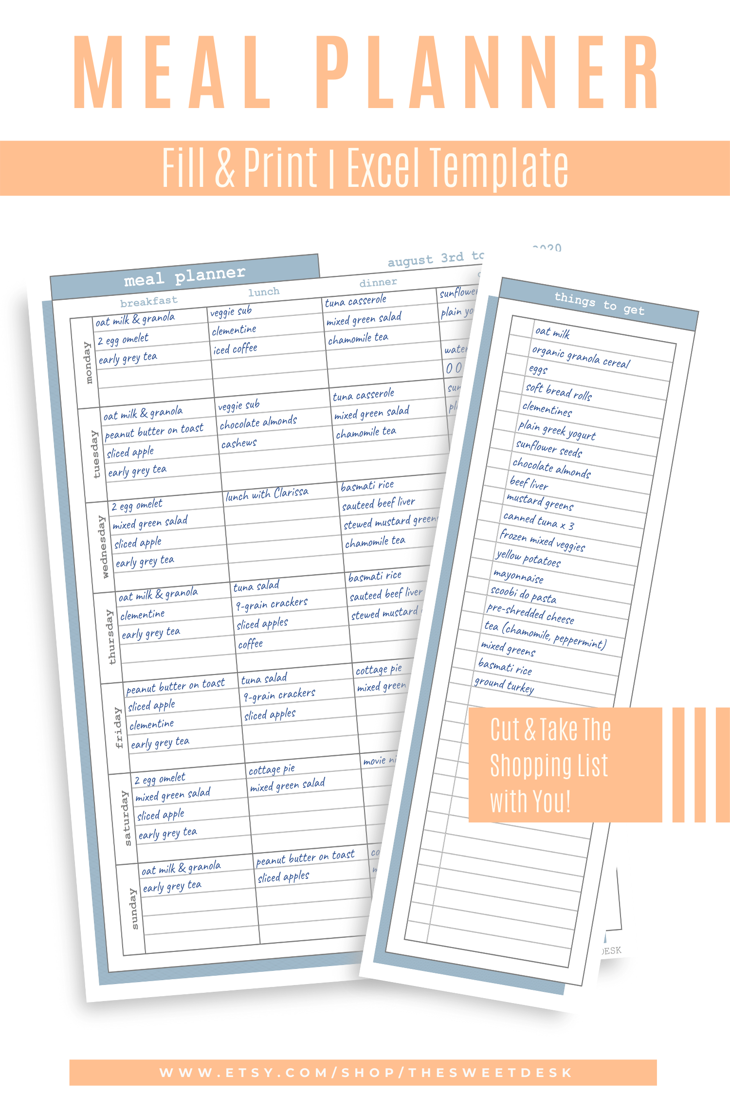 PRINTABLE Meal Planner Template Excel Template