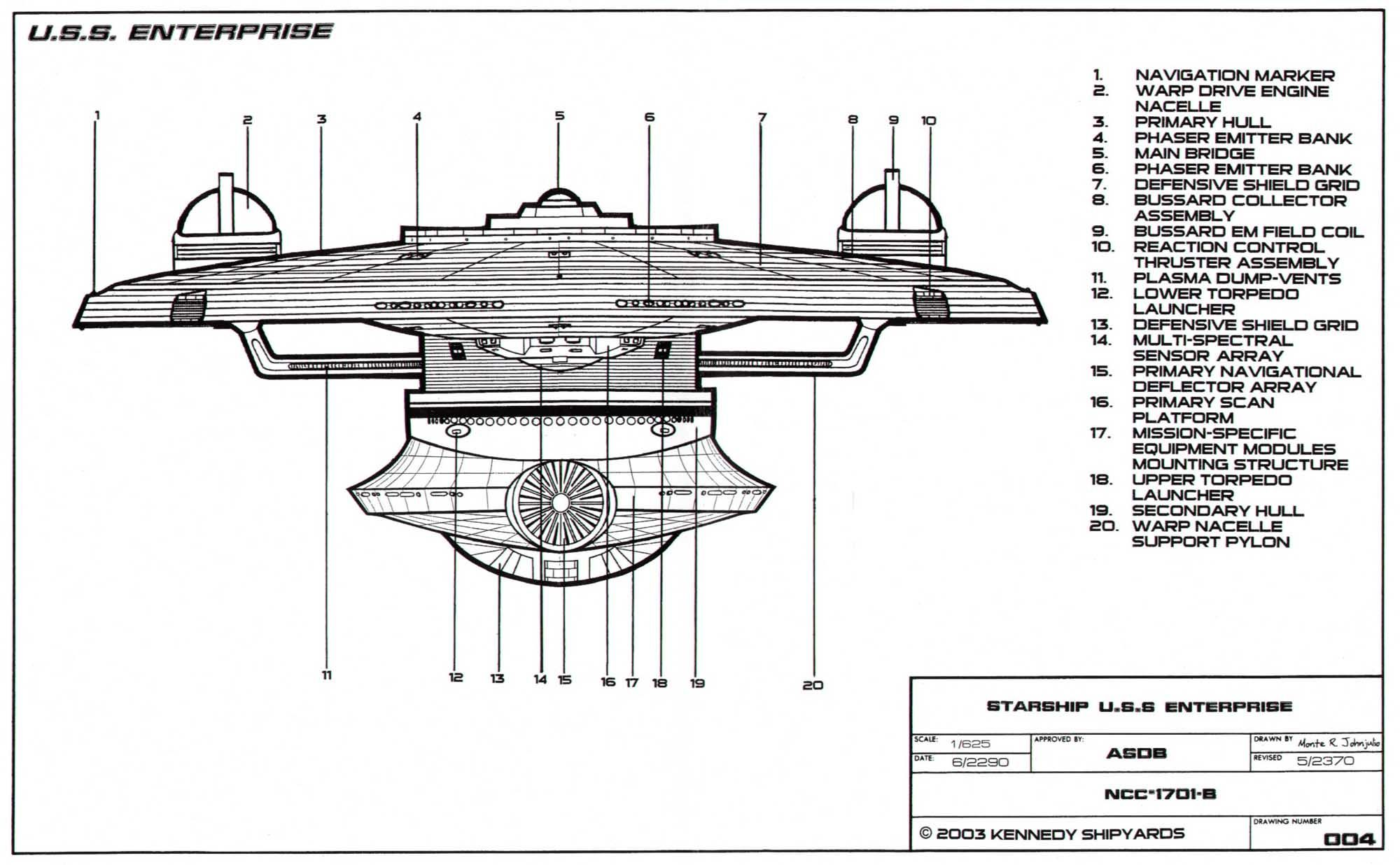 Bow Side Schematic Of The Excelsior Class Enterprise Ncc B Star Trek