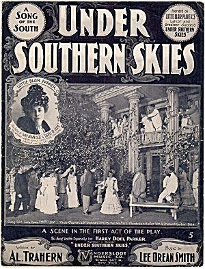 Under Southern Skies Antique Sheet Music 1900s | Vintage Sheet Music