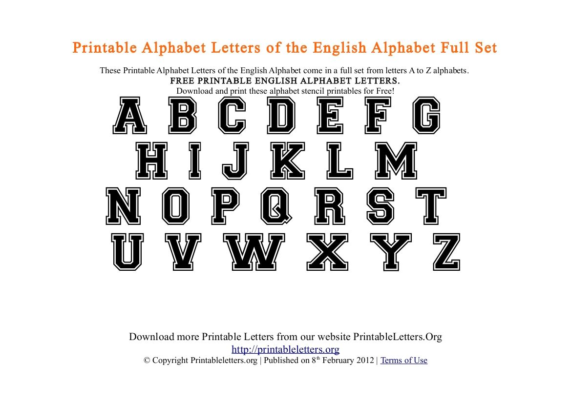 Printable Alphabet Letters  Free Pdf Printable College Style