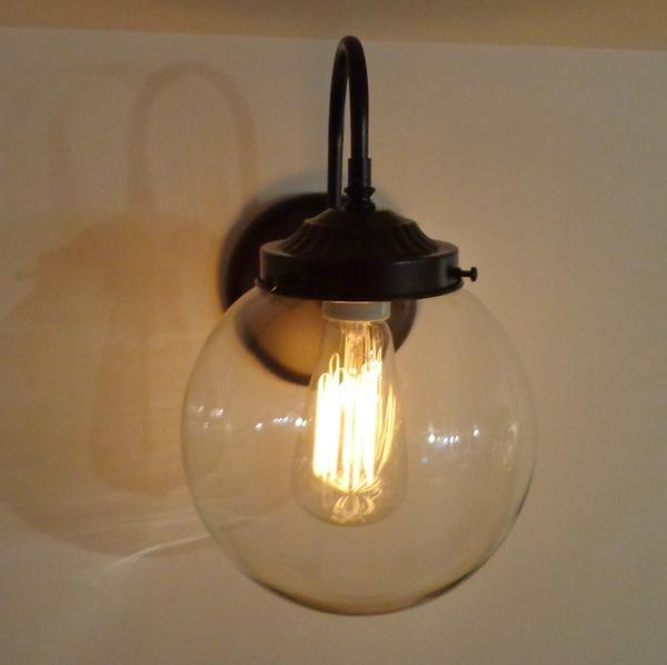 Biddeford. Wall Sconce LARGE Clear Globe - Mason Jar Light Fixture - The Lamp Goods - 2