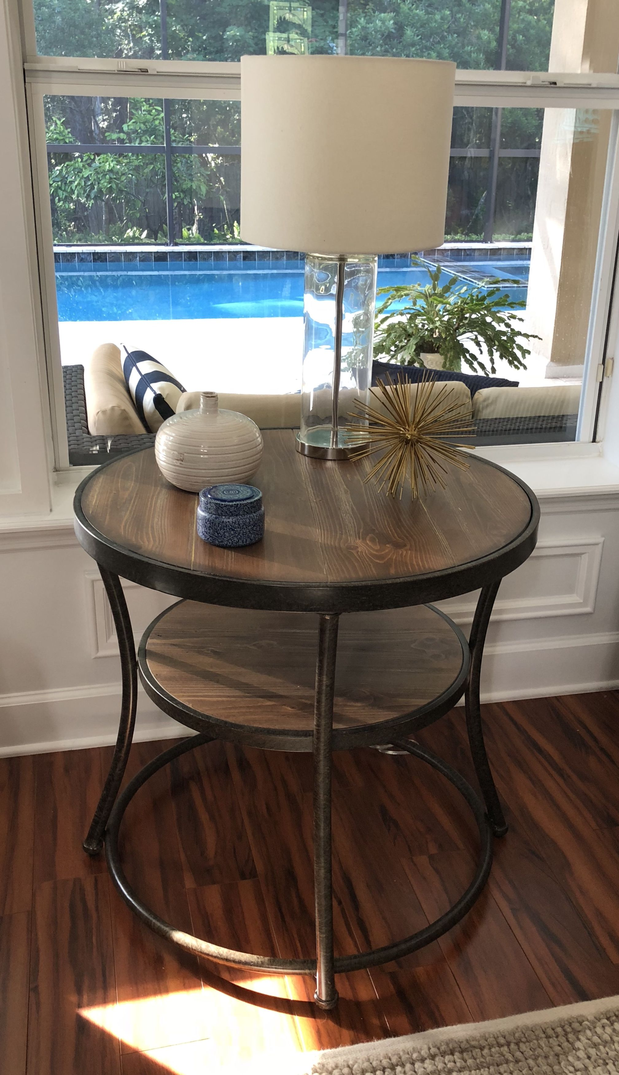 I Love This Round End Table Modern Rustic Mix With Wood And Metal