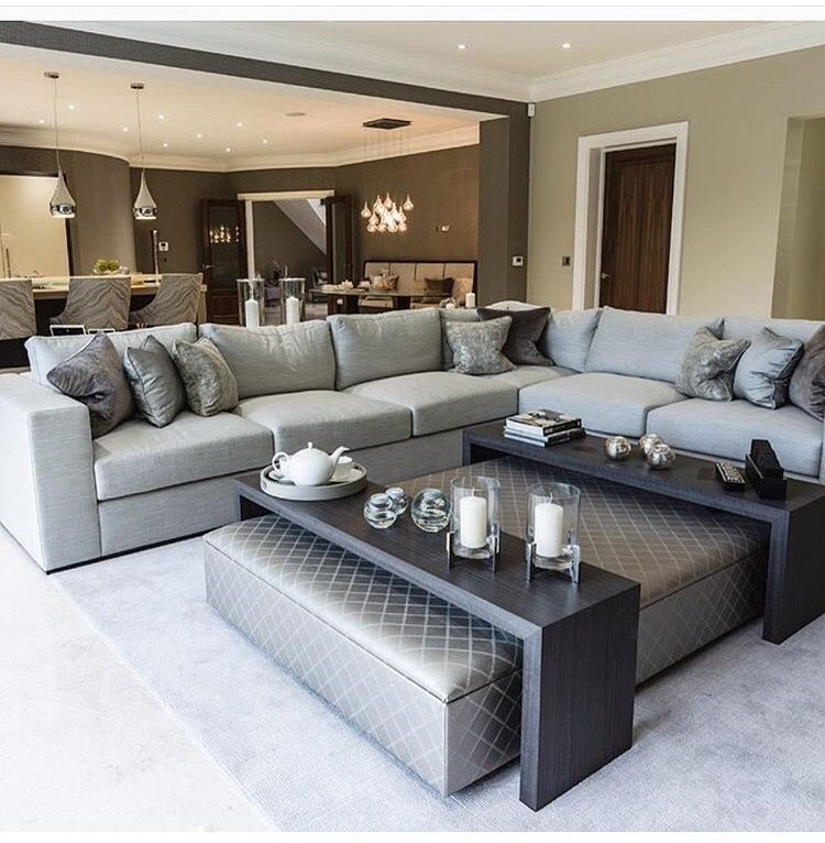 Gorgeous living room un grey and brown tones   Dream House ...