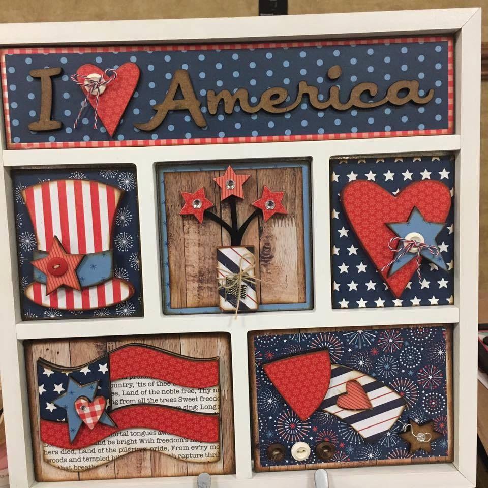Americana shadowbox DIY wood decor. Simple Pleasures Rubber Stamps ...
