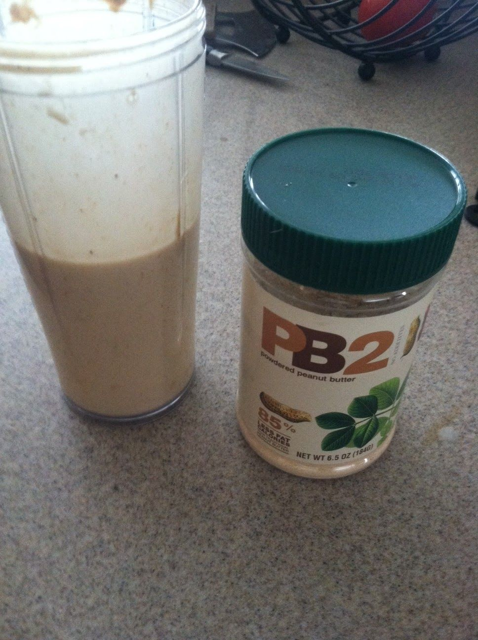 I am addicted to this protein shake after my workouts. Here's the recipe:   1 frozen banana, chopped  2 T of PB2 Find it Here at Amazon....