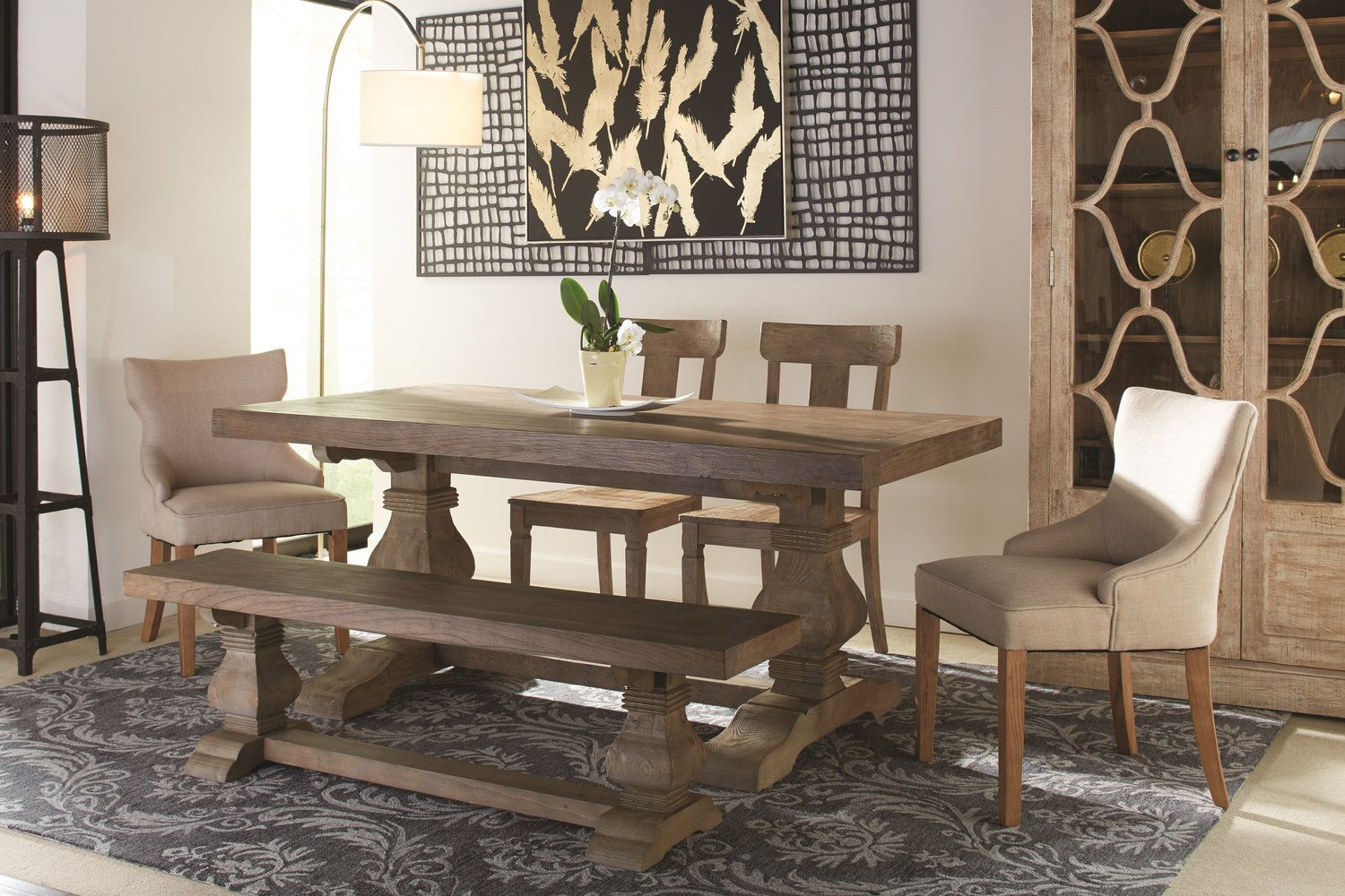 Emma Dining Table With 2 Lucy Chairs And Bench Hom Furniture