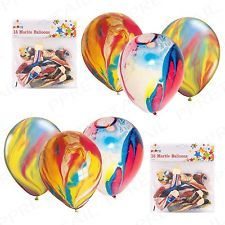 RAINBOW PARTY BALLOONS FUNKY COLOURED MARBLE EFFECT DECORATION BIRTHDAY